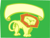 Lion Banner. Yellow lion on green background with scroll banner Stock Image