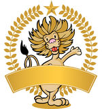 Lion - Banner. Image of a friendly lion - with laurel wreath and blank banner Royalty Free Stock Image