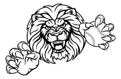 Lion Baseball Ball Sports Mascot Illustration Libre de Droits