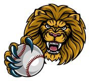 Lion Baseball Ball Sports Mascot Illustration Stock