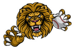 Lion Baseball Ball Sports Mascot Photographie stock