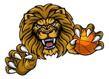 Lion Basketball Ball Sports Mascot Photos libres de droits