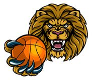 Lion Basketball Ball Sports Mascot Photographie stock libre de droits