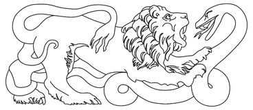 Lion battling snake Stock Photos