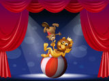 A lion and a beaver performing at the stage Stock Photo
