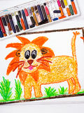Lion with a big mane. Photo of a colorful drawing: lion with a big mane royalty free stock image