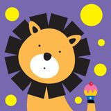 Lion birthday. A lion birthday with a sweet delicious muffin Stock Images