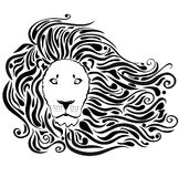 Lion black. Black silhouette of stylized lion head with a beautiful mane Stock Photography