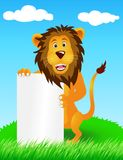 Lion with blank sign Royalty Free Stock Images