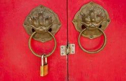 lion bolt Chinese door Stock Photos