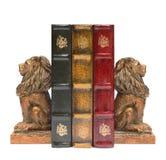 Lion Bookends och antika gamla böcker Arkivbild