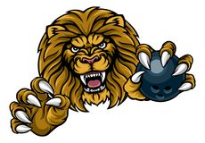 Lion Bowling Ball Sports Mascot. A lion angry animal sports mascot holding a ten pin bowling ball Stock Photography