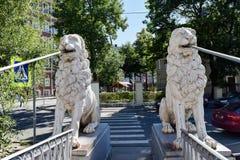 The Lion Bridge. The Griboyedov canal embankment Royalty Free Stock Photos