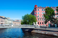 Lion bridge and Griboyedov canal, St Petersburg Royalty Free Stock Photography