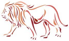 Lion. Brush stroke line art lion image Stock Photos