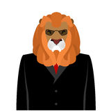 Lion businessman in black  business suit. predator with Large ma Royalty Free Stock Image