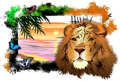 Lion with butterflies amid a landscape in abstract frame. (Vector) royalty free illustration