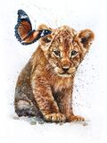Lion with Butterfly watercolor painting