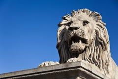 Lion célèbre de passerelle à Budapest Photographie stock