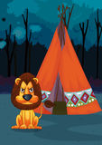 Lion at camp Royalty Free Stock Photos