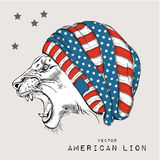 Lion in the cap with American flag. Hipster style. Hand-drawn sketch with symbols of the USA. Vector illustration Royalty Free Stock Photo