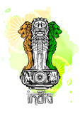 Lion capital of Ashoka in Indian flag color. Emblem of India. Watercolor texture backdrop.  Royalty Free Stock Images