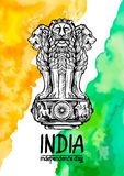 Lion capital of Ashoka in Indian flag color. Emblem of India. Watercolor texture backdrop. Royalty Free Stock Image
