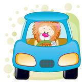 Lion in a car Royalty Free Stock Image