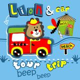 Lion & car. Vector for wallpaper wall Royalty Free Stock Photography