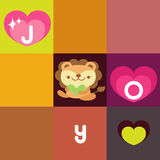 Lion card. Cute lion holding love letter Vector Illustration