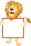 Lion cartoon with blank sign Stock Photo