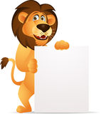Lion cartoon with blank sign Royalty Free Stock Photos