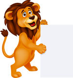 Lion cartoon with blank sign. Illustration of Lion cartoon with blank sign Royalty Free Stock Photography