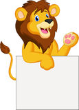 Lion cartoon with blank sign. Illustration of Lion cartoon with blank sign Stock Images