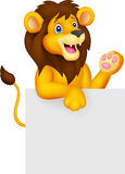 Lion cartoon with blank sign Stock Photography