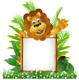 Lion cartoon with board stock illustration