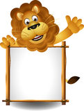 Lion cartoon with board. Vector illustration of lion cartoon with board Royalty Free Stock Photo