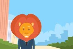 Lion Cartoon Businessman Suit Profile symbol royaltyfri illustrationer