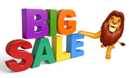 Lion cartoon character with bigsale Royalty Free Stock Photo