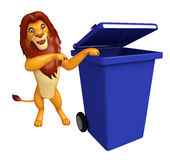 Lion cartoon character  with dustbin Stock Images