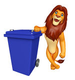 Lion cartoon character  with dustbin Royalty Free Stock Photos