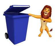 Lion cartoon character  with dustbin Royalty Free Stock Photography