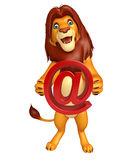 Lion cartoon character with at the rate Royalty Free Stock Photos