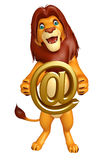 Lion cartoon character with at the rate Stock Photos