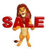 Lion cartoon character with sale Stock Image