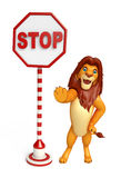 Lion cartoon character with stop sign Stock Photo