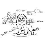 Lion cartoon coloring pages vector Stock Photography