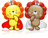Lion cartoon cute with crown.  Royalty Free Stock Photo