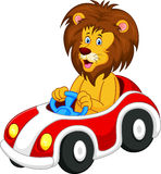 Lion cartoon driving car. Illustration of Lion cartoon driving car Royalty Free Stock Photo