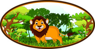 Lion cartoon with forest background Stock Photography